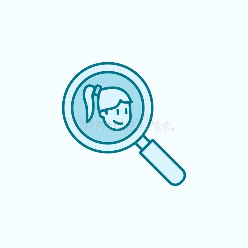 Girlfriend search 2 colored line icon. Simple colored element illustration. girlfriend search outline symbol design from. Friendship set on blue background stock illustration