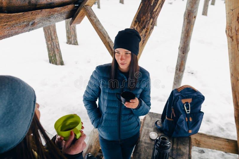 Girlfriends drink coffee talk forest winter Girlfriends relaxing royalty free stock photo