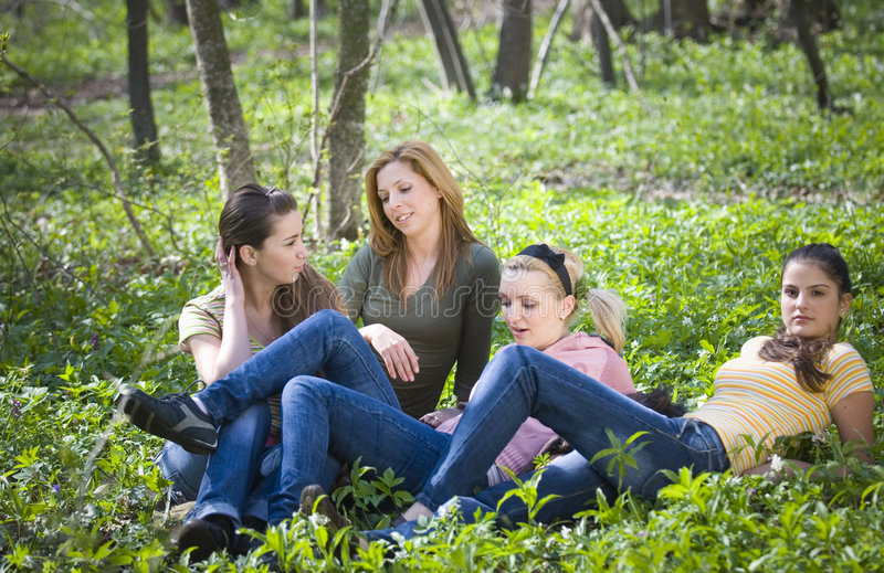 Download Girlfriends in the forest stock photo. Image of forest - 2488222