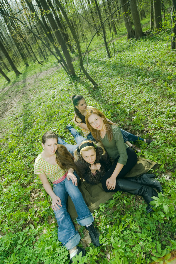 Download Girlfriends in the forest stock photo. Image of youth - 2505124