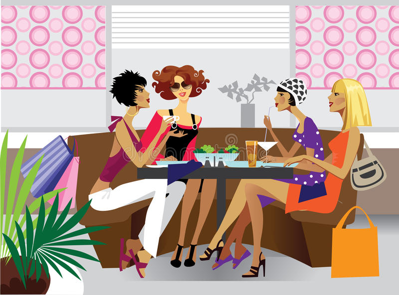 Girlfriends at lunch. Illustration of group women at lunch in café or restaurant