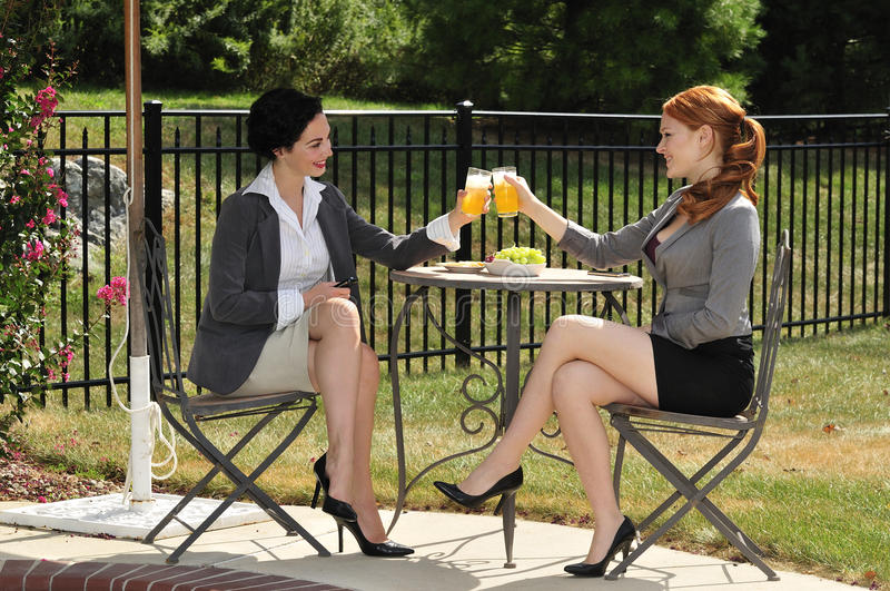 Girlfriends on a lunch break royalty free stock photos
