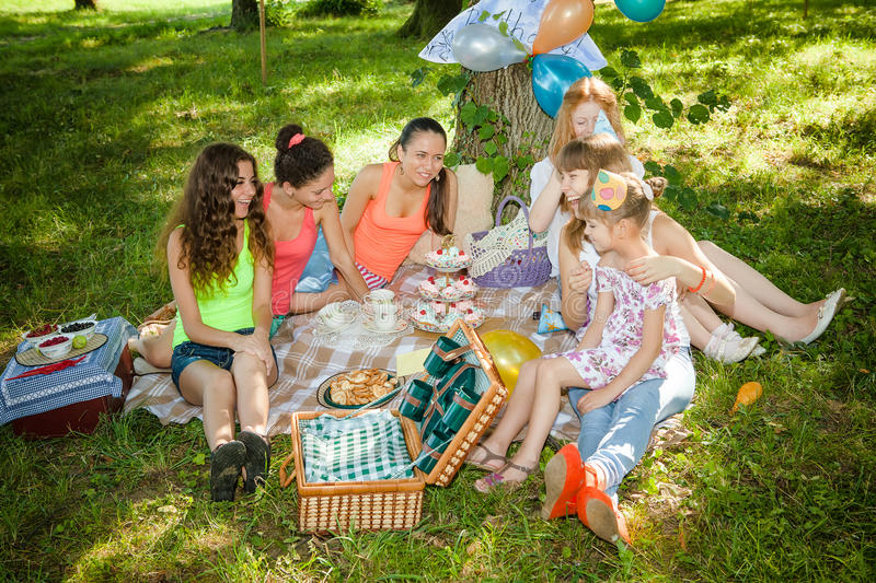 Download Girlfriends on picnic stock image. Image of female, friendship - 25596681