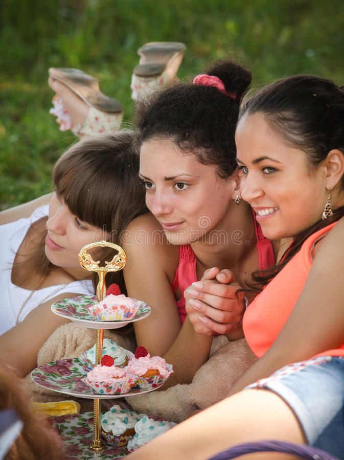 Download Girlfriends on picnic stock image. Image of grass, girl - 25596979