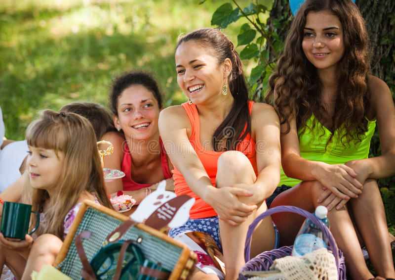 Download Girlfriends on picnic stock image. Image of picnic, blue - 25597037