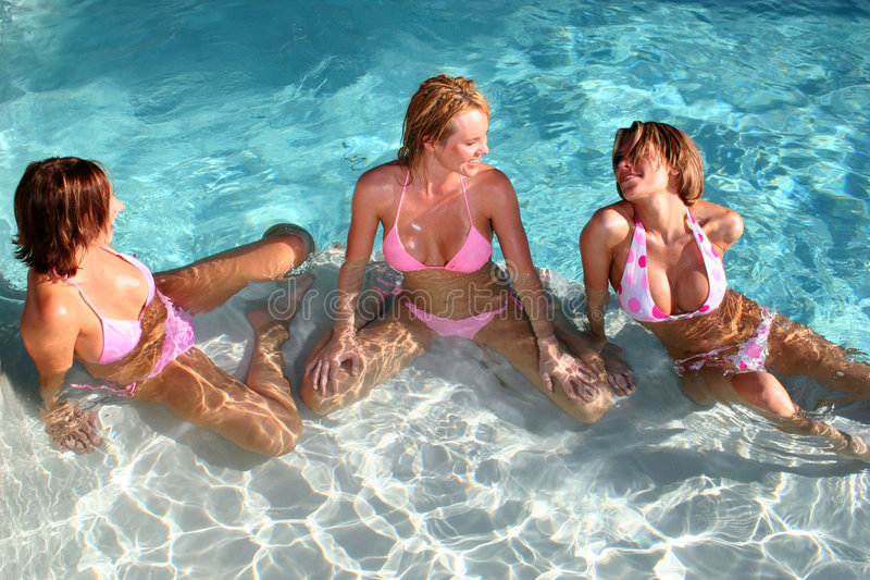 Download Girlfriends at the Pool stock image. Image of woman, shape - 1193619