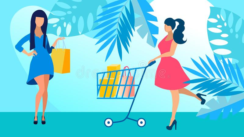 Girlfriends on Shopping Flat Vector Illustration. Young Women in Fashionable Clothes Faceless Cartoon Characters. Fashion Boutique Mannequins, Satisfied royalty free illustration