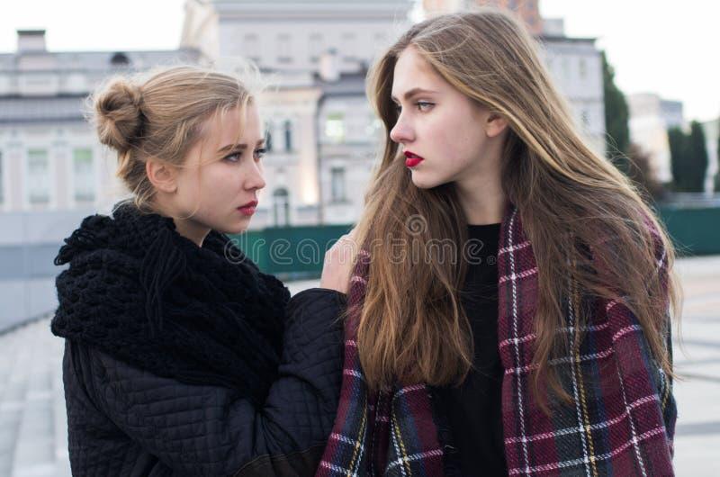 Girlfriends street portrait royalty free stock photography