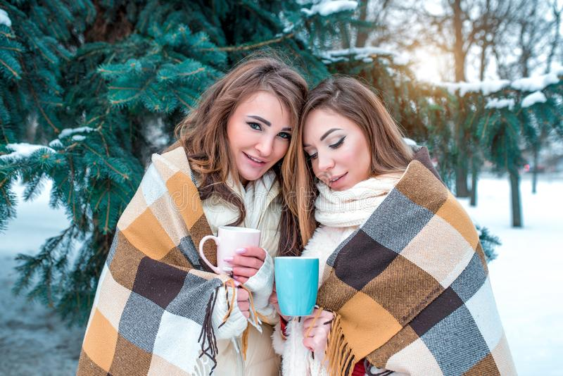 Girlfriends winter in the forest on background of snow and fir trees. Warmed by a rug, in the hands of a mug with a hot royalty free stock photo