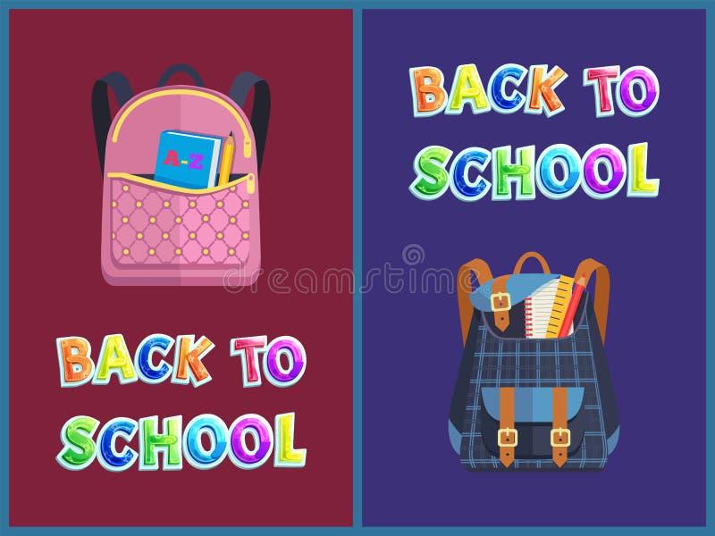 Girlie et sacs unisexes de nouveau à l'affiche de promo d'école illustration stock