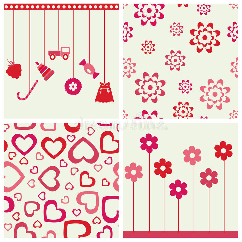 Download Girlie Seamless Backgrounds And Objects Set. Stock Vector - Image: 19666410