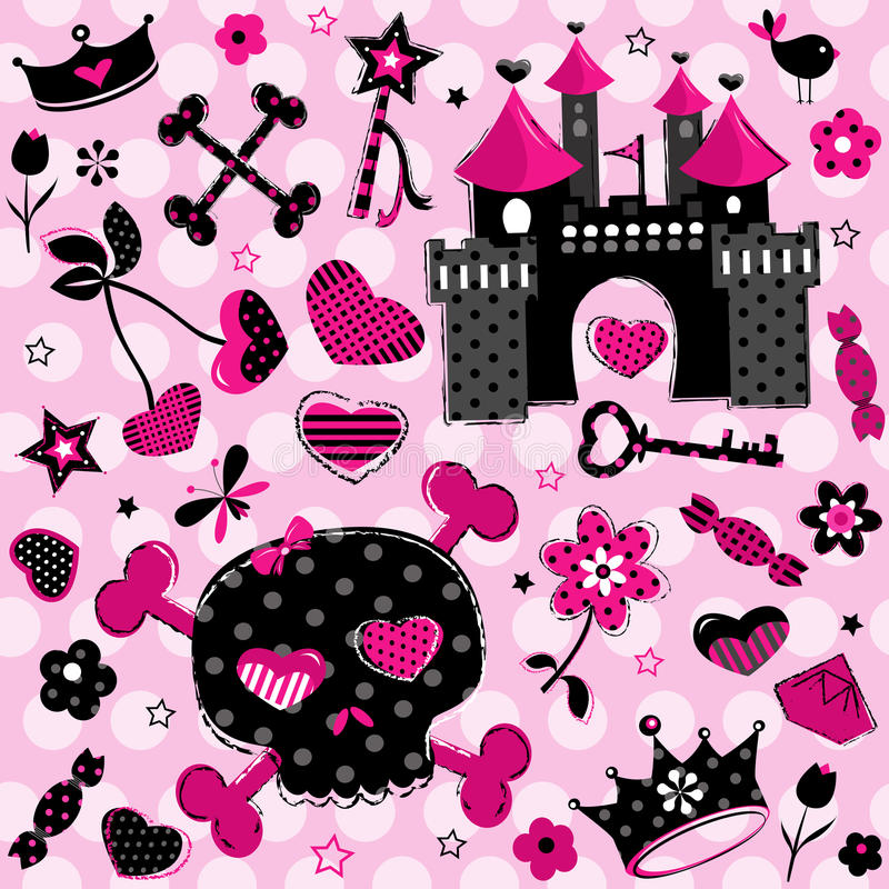 Girlish aggressive cute black and red elements. Cute aggressive girlish black and red elements set on pink background stock illustration