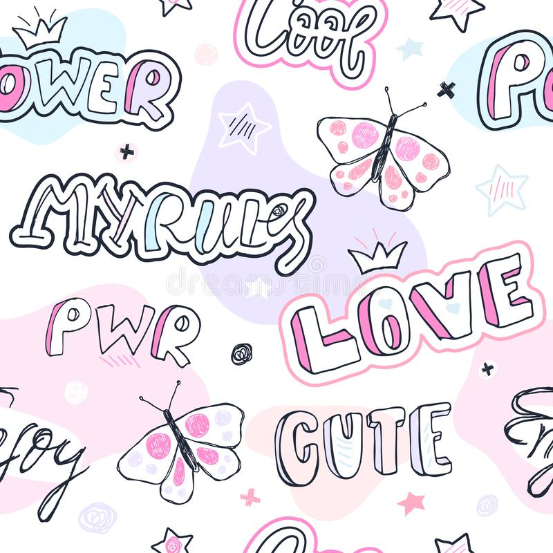 Girlish fashion sketch seamless pattern with butterfly, stickers, lettering, stars, crown. stock illustration