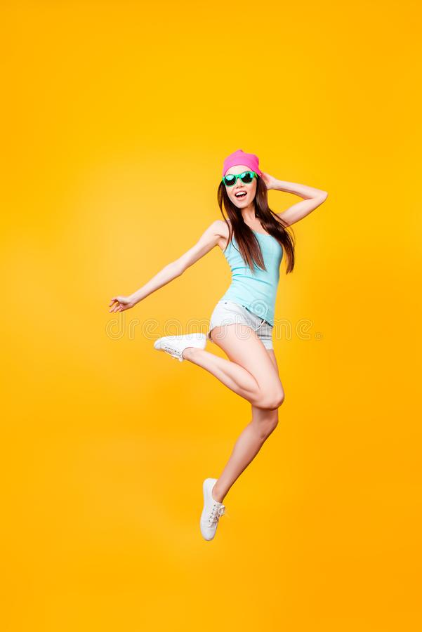Girlish, funky, happiness, dream, fun, joy, summer concept. Very royalty free stock images