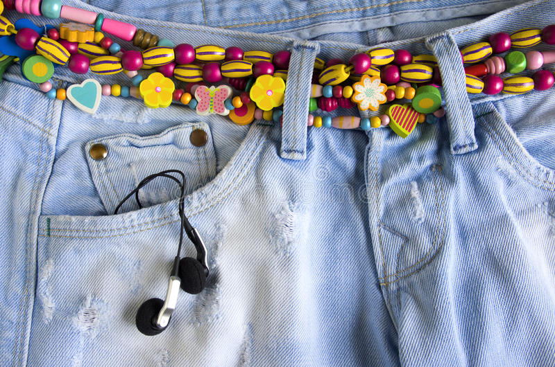Download Girlish jeans stock photo. Image of fashion, music, beads - 21462636