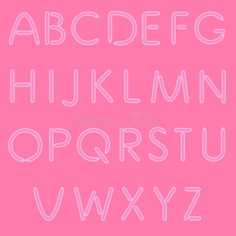 Girlish Letters. ABC, Font. On Pink Background. Vector. No Mesh Used stock illustration