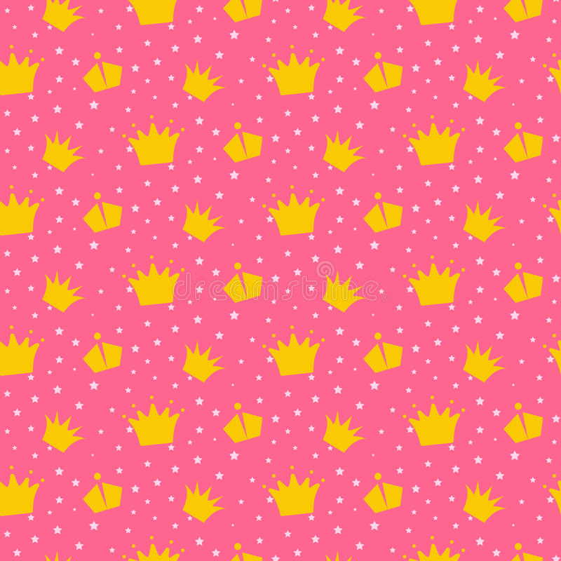 Girlish pink pattern with princess crowns. vector illustration
