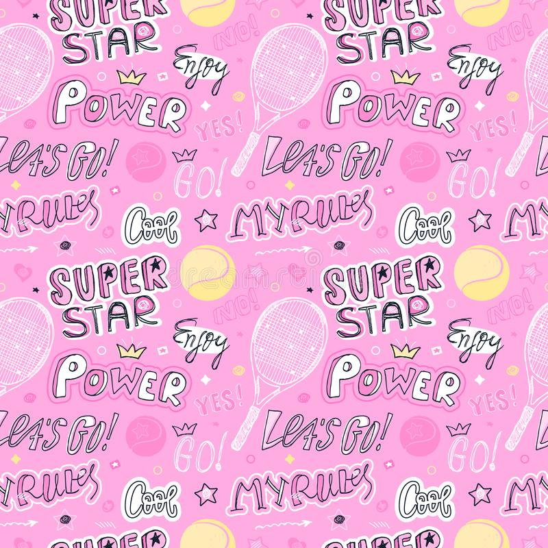 Girlish pink sketch seamless pattern for tennis. Sports Background with ball, racket, text,. Girlish pink sketch seamless pattern for tennis. Sports Background stock illustration
