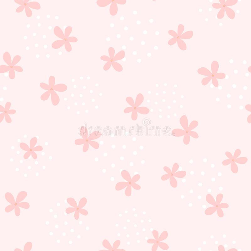 Girlish seamless pattern with cute flowers. Endless girly print. stock illustration