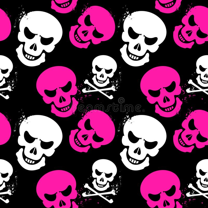 Girlish seamless pattern with skulls royalty free illustration