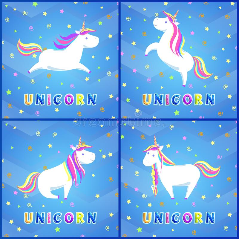 Girlish Unicorn with Rainbow Mane and Sharp Horn. Girlish unicorns with rainbow mane and sharp horn set of greeting cards. Mysterious horse from fairy tales or royalty free illustration