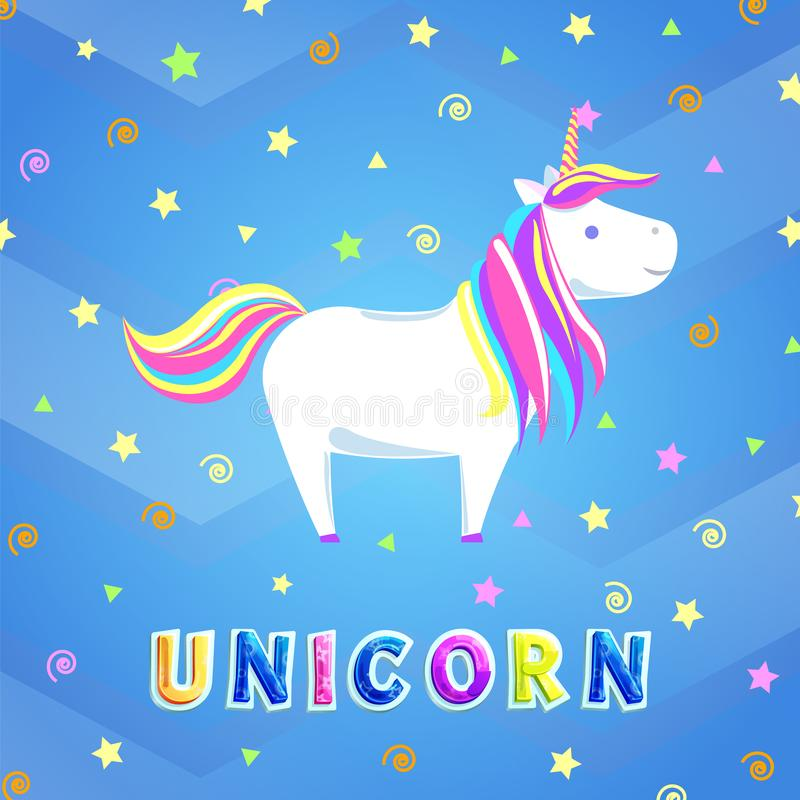 Girlish Unicorn with Rainbow Mane and Sharp Horn. Unicorn with rainbow mane and sharp horn. Mysterious horse from fairy tales or legends. Childish animal stock illustration