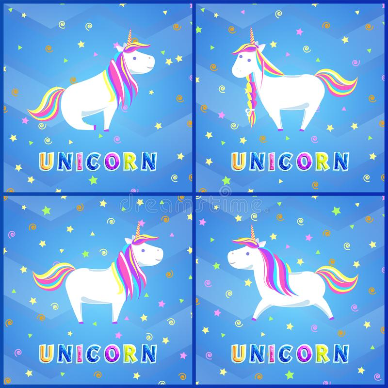Girlish Unicorn with Rainbow Mane and Sharp Horn. Girlish unicorns with rainbow mane and sharp horn set of greeting cards. Mysterious horse from fairy tales or stock illustration