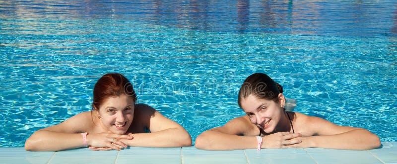 Download Girls  Against Resort Background Stock Image - Image: 14118817