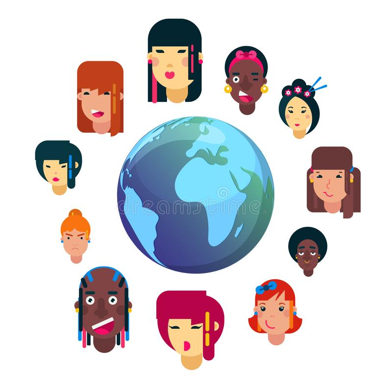 Girls all nationalities emotion faces cartoon vector illustration. Woman emoji face icons and symbols. Girls emoji stock illustration