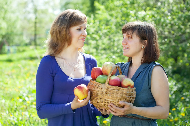 Download Girls With Apples  In Garden Stock Image - Image of girls, orchard: 25584023