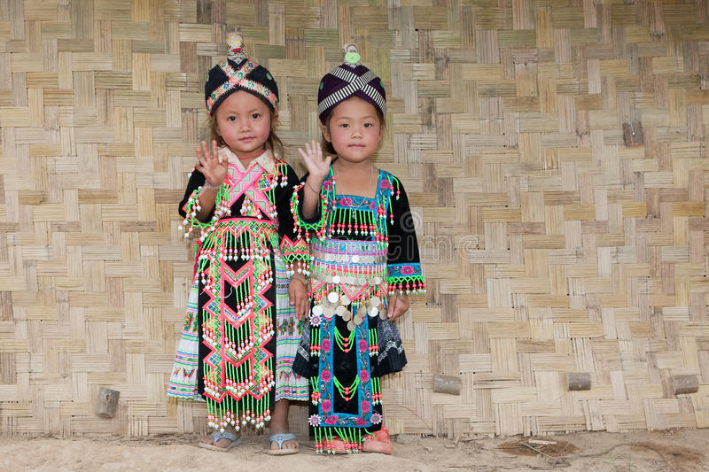 Girls from Asia Hmong. Portraits in traditional clothes royalty free stock photo