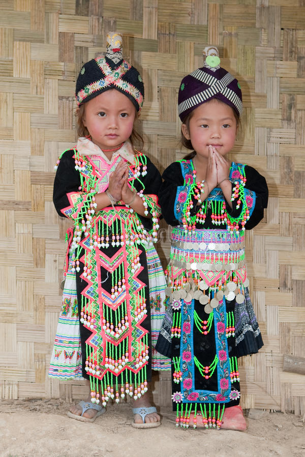 Girls from Asia Hmong. Portraits in traditional clothes royalty free stock photos