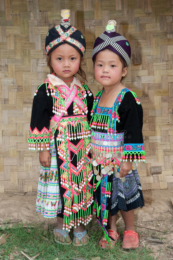 Girls from Asia Hmong. Portraits in traditional clothes royalty free stock image