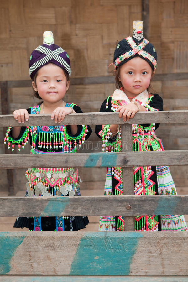 Girls from Asia Hmong. Portraits in traditional clothes stock photography