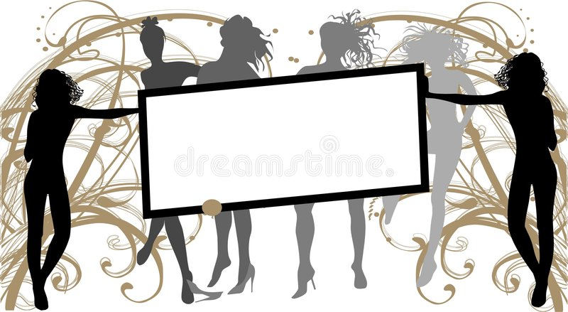 Girls with banner royalty free illustration