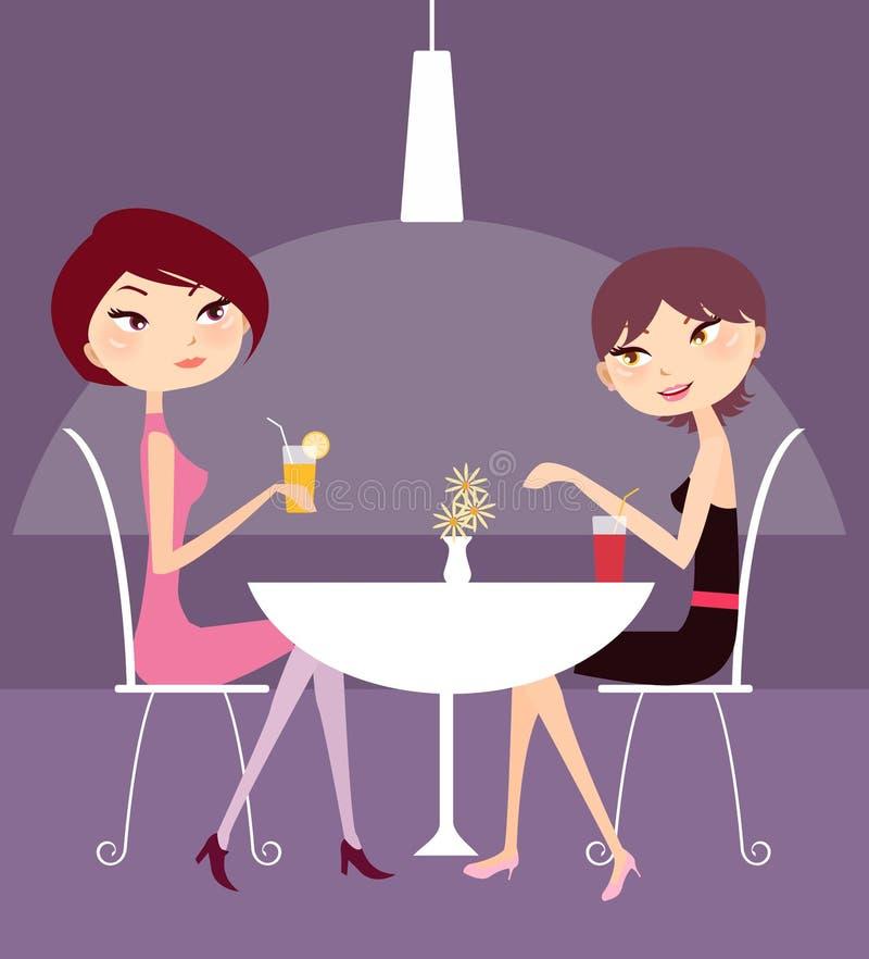 Girls in a bar royalty free illustration