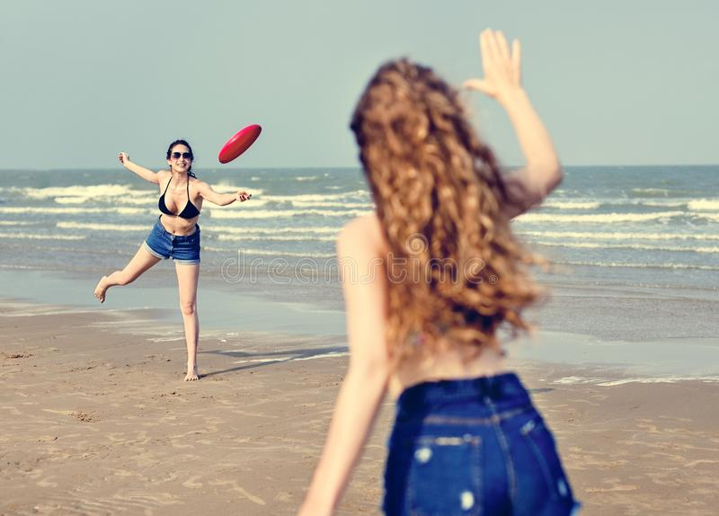 Girls Beach Summer Holiday Vacation Togetherness Concept royalty free stock photos