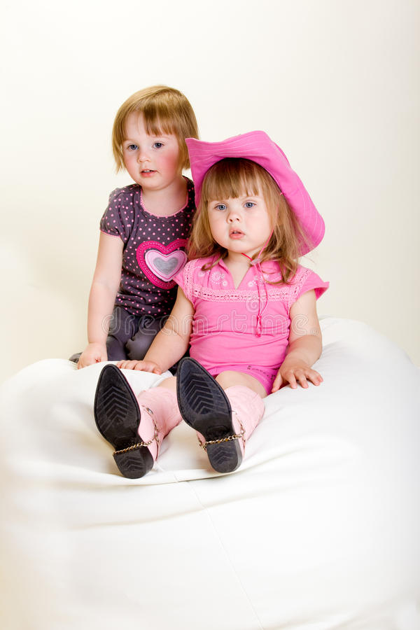 Download Girls on beanbag stock photo. Image of cheerful, little - 14853224
