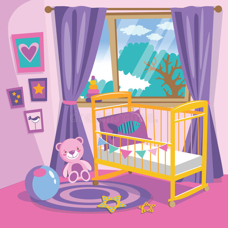 Girls bedroom interior. Flat style cartoon vector illustration. Baby room in pink. Baby room with furniture. Nursery interior. vector illustration