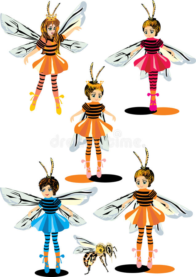 Girls In Bee Costumes Royalty Free Stock Image