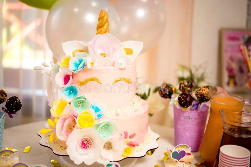 Girls birthday unicorn style cake. Close up stock photos