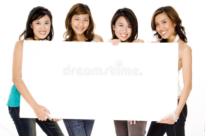 Download Girls And Blank Sign stock image. Image of blank, women - 1117351