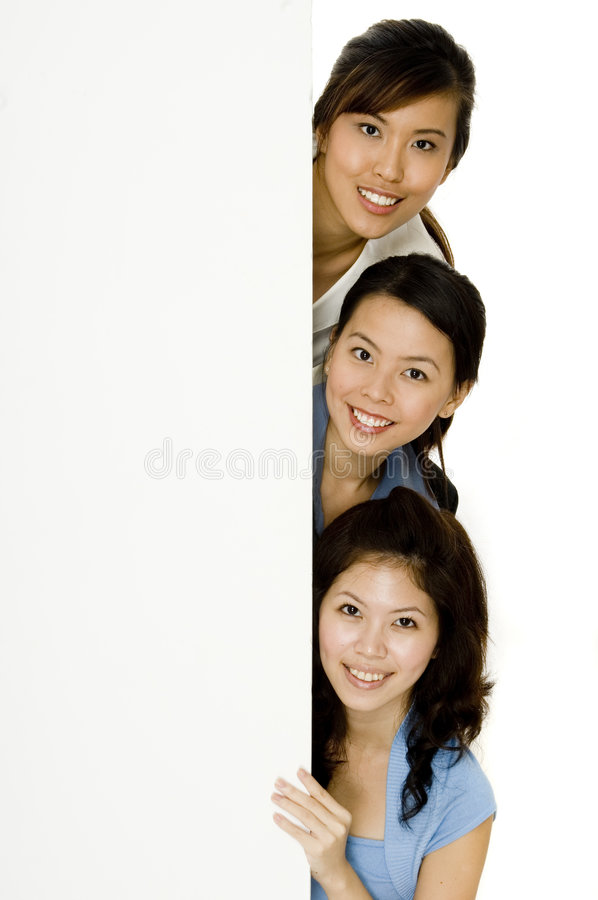 Girls and Blank Sign stock photography