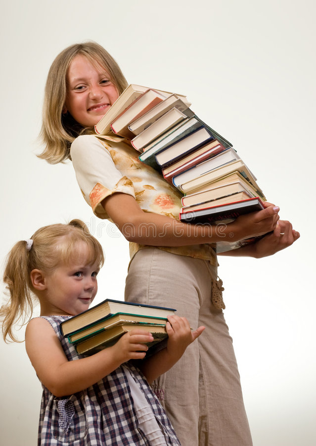 Download Girls with books stock photo. Image of emotion, infant - 2907598