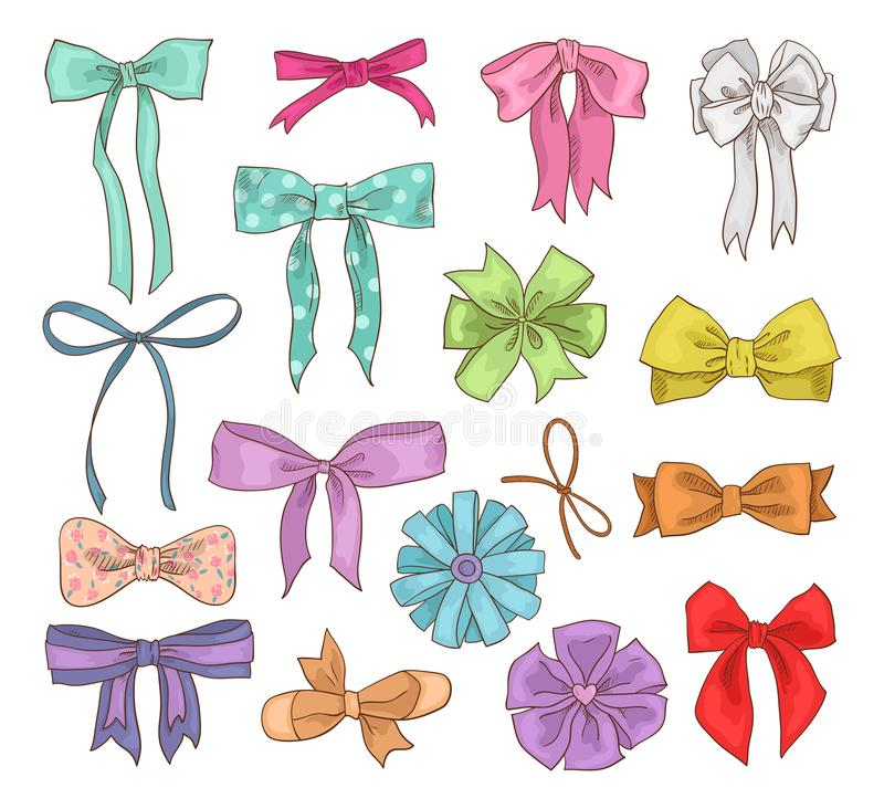 Girls bow vector girlish bowknot or girlie ribbon on hair or for decorating gifts on Birtrhday illustration set of bowed royalty free illustration