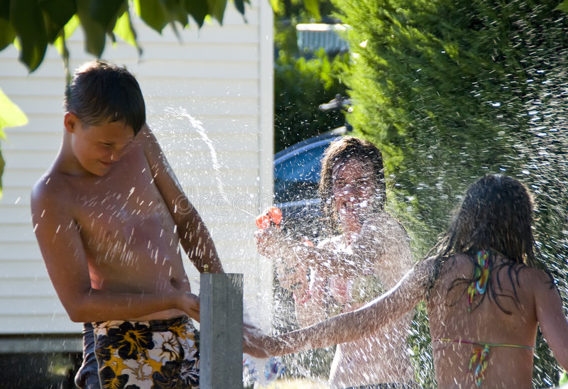 Download Girls And Boy And Hydrant Fun Stock Image - Image of having, have: 8405731