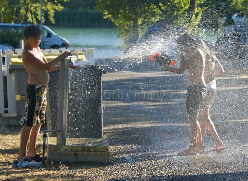 Download Girls And Boy And Hydrant Fun Stock Image - Image: 8405755
