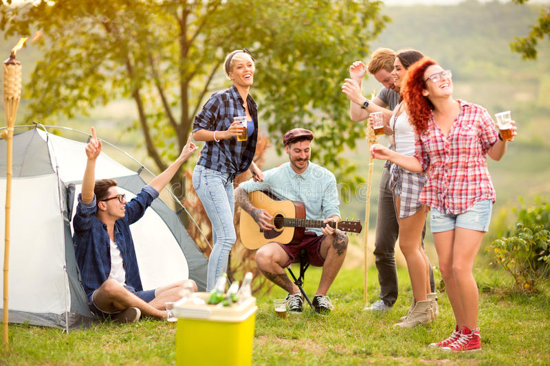 Girls and boys dance in nature stock photos