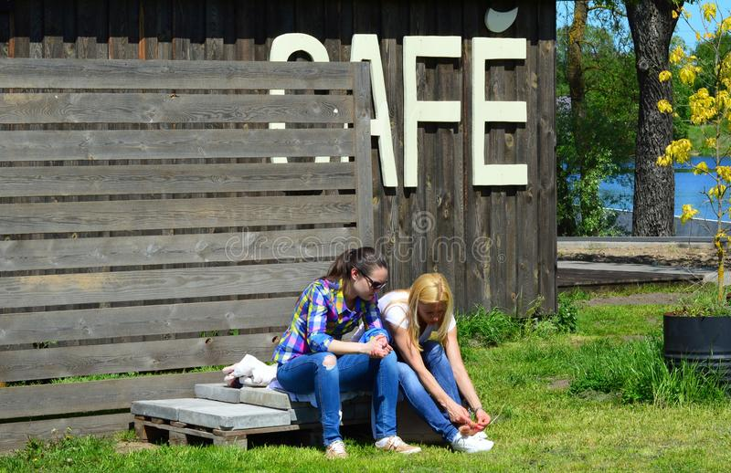 Girls in a break time. stock photography