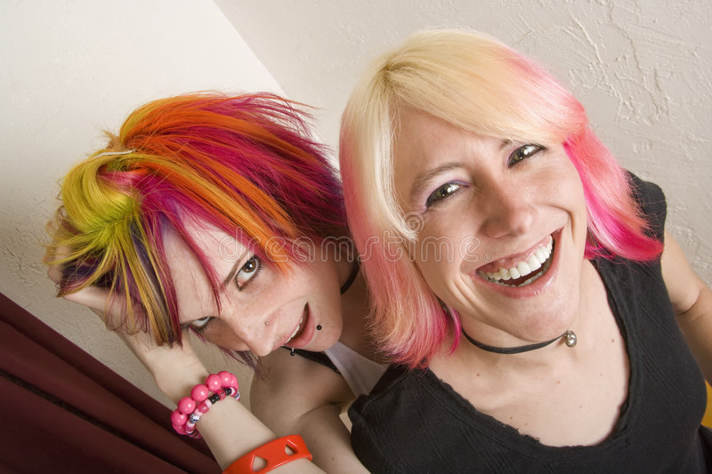 Girls with Bright Hair stock photography